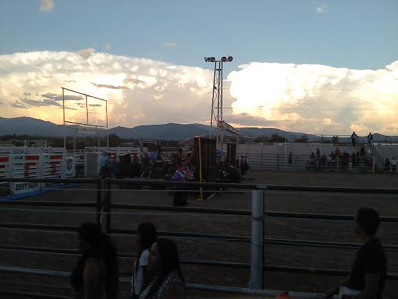 A storm gathers over the mountains in Santa Fe.